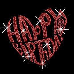 Heart Shaped Happy Birthday Iron on Rhinestone Transfer