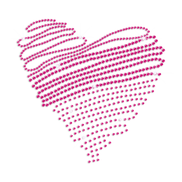 Rose Pink Heart Sequin Iron on Hot Fix Transfer Decal