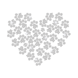 Heart Made of Paw Prints Iron on Rhinestone Transfer