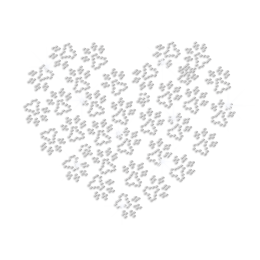 Heart Shaped with Paw Prints Iron-on Rhinestone Transfer
