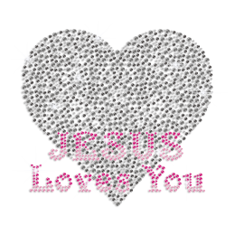 Jesus Love You with Heart Iron on Rhinestone Transfer Design