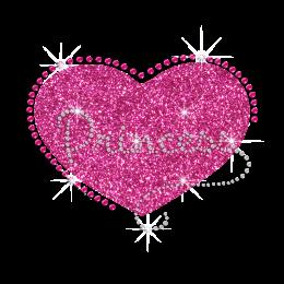 Pink Cute Princess Heart Iron on Glitter Rhinestone Transfer