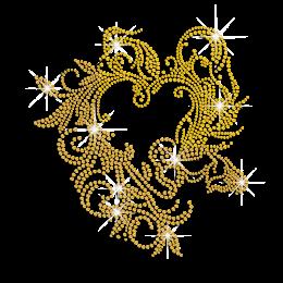 Elegant Golden Flowery Heart Frame Iron on Rhinestone Transfer