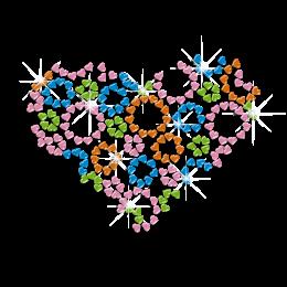 Colorful Heart Shape by Hearts Nailhead Iron on Transfer