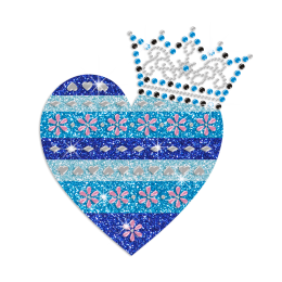 Blue Heart with Crown Iron-on Glitter Nailhead Rhinestone Transfer