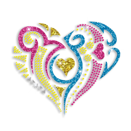Magic Show Shimmery Heart Glitter Nailhead Neon Stud Iron on Transfer