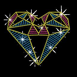 Vegas Show Diamond Heart Iron-on Neon Rhinestud Transfer