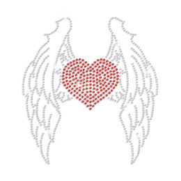 Ruby Heart with Crystal Wings Iron-on Rhinestone Transfer