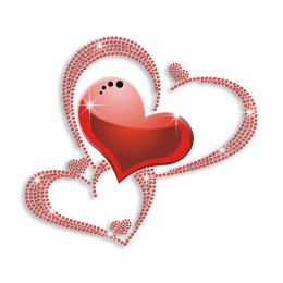 Red Pretty Heart Rhinestone Heat Transfer Combo