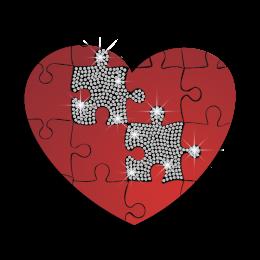 Hotfix Heart Puzzle Nailhead Heat Transfer Combo