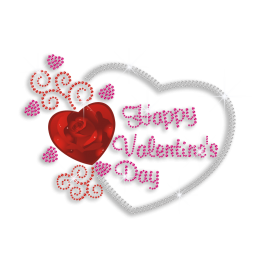 Romantic Happy Valentine\'s Day Rhinestone Heat Transfer