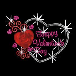 Romantic Happy Valentine\'s Day Rhinestone Heat Transfer