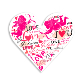 Romantic I Love You & Cupid & Heart Heat Transfer
