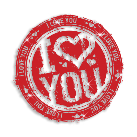 Red Cool I Love You Postmark Iron-on Heat Transfer