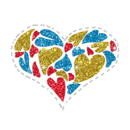 Colorful Bling Heart Hotfix Glitter Rhinestone Transfer