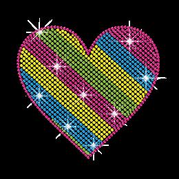Multicolor Stripe Patterns Heart Hotfix Rhinestone Transfer