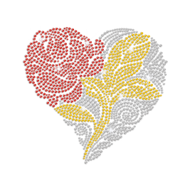 Red Flower in Crystal Heart Iron-on Rhinestone Transfer