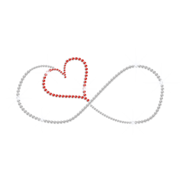 Red Infinite Heart Love Iron on Rhinestone Transfer