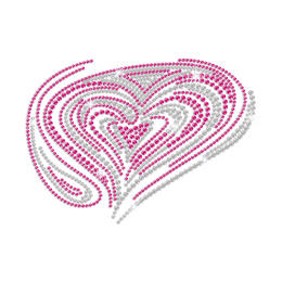 Rose Pink Heart Love Iron on Rhinestone Transfer