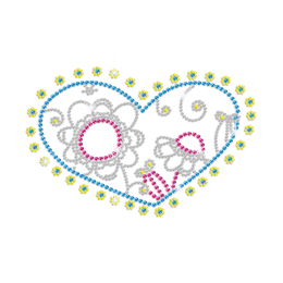 Cute Sunflower Heart Hotfix Rhinestone Design