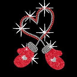Warm Red Gloves Heart Rhinestone Design