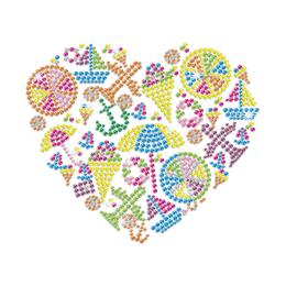 Different Things in a Heart Hot Fix Rhinestone Crystals