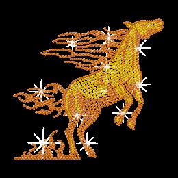 Jumping Crystal Horse Iron on Rhinestone Design