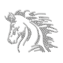 Cool Horse Iron on Pattern Rhinestone Design