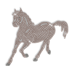 Diamante Brown Horse Hotfix Design Bling Transfer
