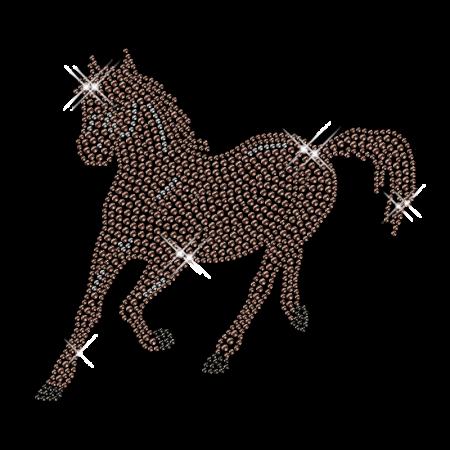 Diamante Brown Horse Hotfix Design Bling Transfer