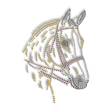 Rhinestone Horse Pattern Cool Iron on for Clothing