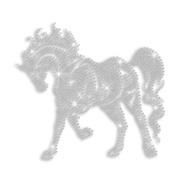 Size L Standing Horse Iron-on Rhinestone Transfer