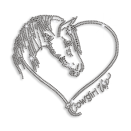 Black Horse Cowgirl Up Iron-on Rhinestone Transfer