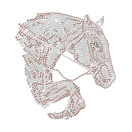 Shimmery Running Horse Iron on Rhinestone Transfer