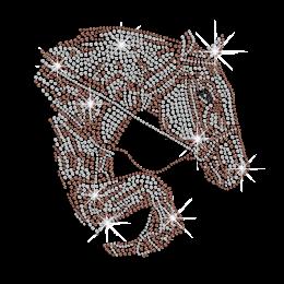 Shimmery Running Horse Iron on Rhinestone Transfer