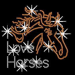 I Love Horse Bling Iron on Rhinestone Heat Transfer