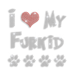 I Heart My Furkid Paw Print Iron-on Rhinestone Transfer