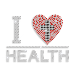Shiny I Heart Health with Cross Rhinestud Iron-on Transfer