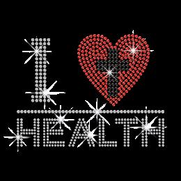 Shiny I Heart Health with Cross Rhinestud Iron-on Transfer