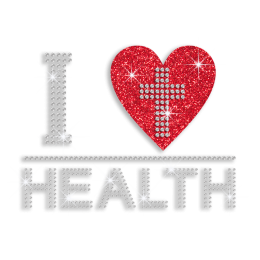 Shimmery I Heart Health with Cross Glitter Stud Iron-on Transfer