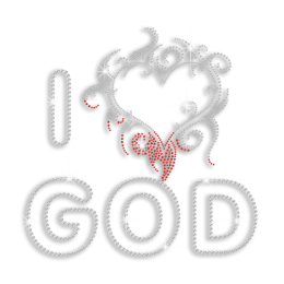 I Love God with All Heart Iron-on Nailhead Rhinestone Transfer
