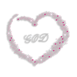 Love God with My Heart Iron on Nailhead Rhinestone Transfer