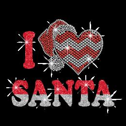 Glittery I Love Santa Cute Christmas Iron-on Rhinestone Transfer