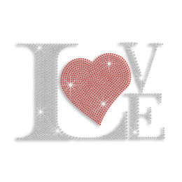 Love with Red Heart Iron-on Rhinestone Transfer
