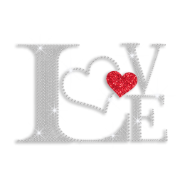 Bling Love with Heart Iron-on Rhinestone Transfer