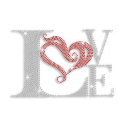 Elegant Love & Heart Iron-on Rhinestone Transfer Motif
