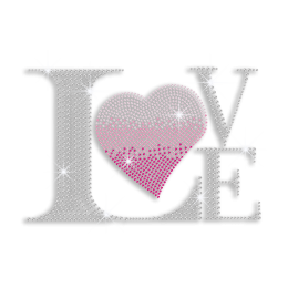 Pink Heart & Crystal Love Iron-on Rhinestone Transfer