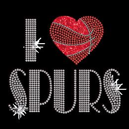 Bling I Love Spurs Iron-on Glitter Rhinestone Transfer