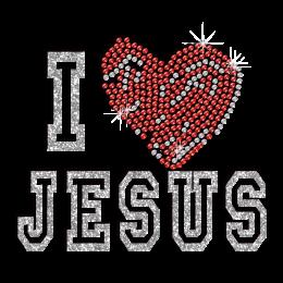 Lovely I Love Jesus Iron-on Glitter Rhinestone Transfer