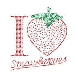 I Love Strawberries Iron on Rhinestone Transfer